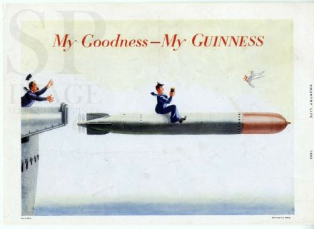 1943 VINTAGE GUINNESS ADVERT Sailor Navy Torpedo WW2 MY GOODNESS Print GE1135A